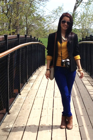 mustard Forever 21 boots - blue jeans - black blazer - brown Forever 21 top