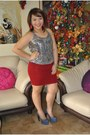 Silver-sequined-zara-blouse-ruby-red-forever-21-skirt