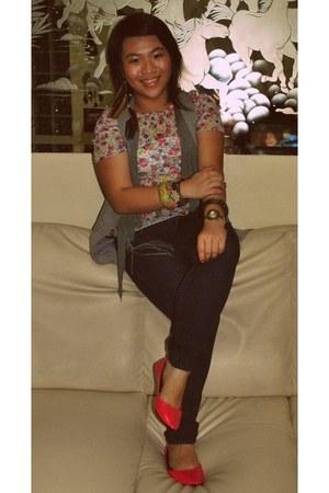 hot pink random brand flats - navy Forever 21 jeans - hot pink Zara blouse