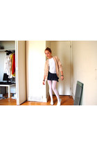 H&M skirt - grandpas sweater - urban behavior shirt - payless shoes