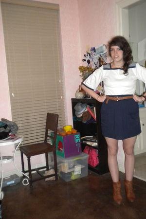 neiman marcus top - American Apparel skirt - Joan and David boots