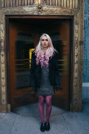 silver sugarhill boutique dress - black fur thrifted jacket