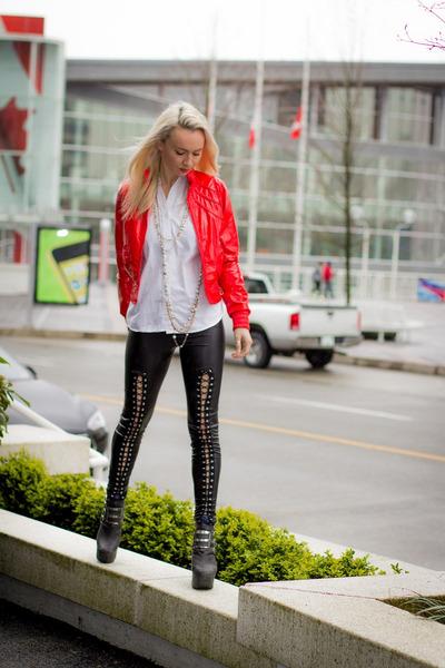 red Kersh jacket - black Jeffrey Campbell heels