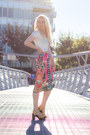 White-cotton-forever-21-top-hot-pink-daisy-street-skirt