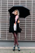 black Steve Madden vest - maroon H&M pants - black Jeffrey Campbell heels