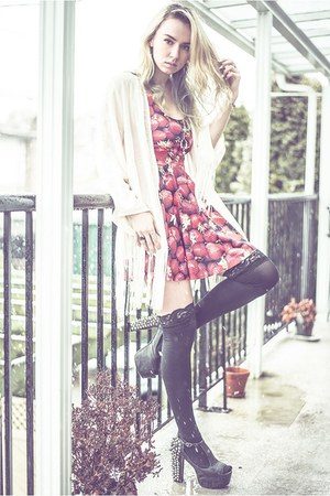 black Jeffrey Campbell heels - red Black Milk Clothing dress