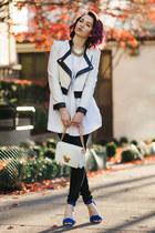 white versace purse - white Marni blouse - blue Joie heels