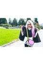 Black-polka-dot-thrifted-jacket-hot-pink-cartoon-jump-from-paper-purse