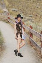 black Dollhouse boots - black H&M hat - light blue Heys purse