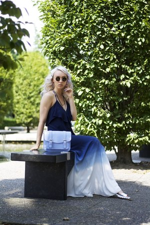 blue for elyse dress - sky blue Heys purse - light brown zeroUV sunglasses