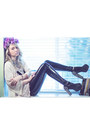 Black-pvc-foxtale-designs-leggings-white-for-elyse-cardigan