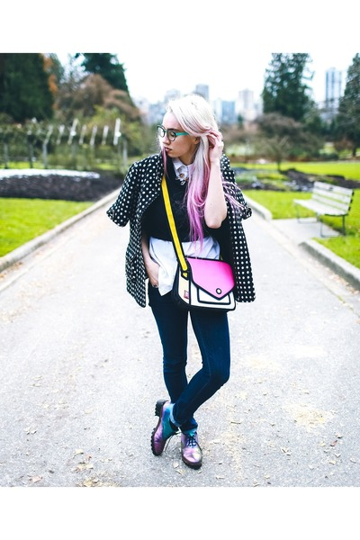 hot pink cartoon Jump From Paper purse - black polka dot thrifted jacket