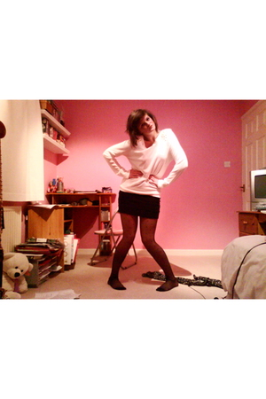 white Topshop sweater - black H&M skirt - black Primark tights