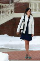 navy Jessica Swagman dress - white pea coat Old Navy jacket
