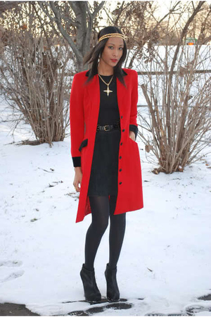 red vintage blazer - black BCBG boots - gold Givenchy necklace