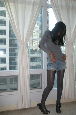 Zara top - hollister shorts - American Apparel tights - Jessica Simpson boots