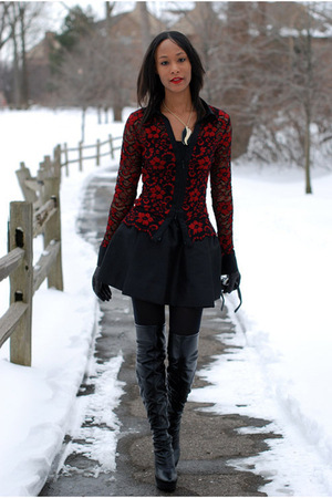 black Urban Outfitters skirt - black Nine West boots
