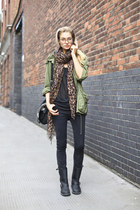 biker boots boots - jeans - jacket - leopard print scarf - glasses