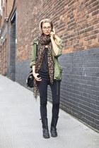 biker boots boots - jeans - jacket - leopard print scarf - glasses