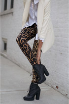 leopard print tights - black boots - ivory blazer - white top blouse