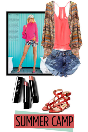 salmon top - light blue jeans shorts - salmon flats