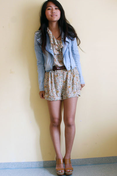 brown Mango shoes - blue H&M jacket - beige Zara shorts