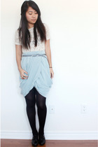 blue H&M skirt - beige vintage top