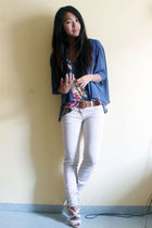 blue wilfred blouse - blue Topshop top - beige H&M shoes