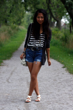 gray BDG cardigan - blue Levis shorts - white Alexander Wang bag