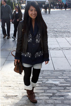 blue H&M sweater - gray danier jacket - brown Frye boots