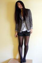 gray thrifted blazer - black aa shorts