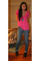 pink shirt - blue Old Navy jeans - black roberto vianni boots