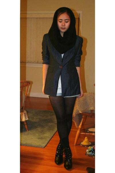 black H&M scarf - black H&M boots - blue INC blazer - white