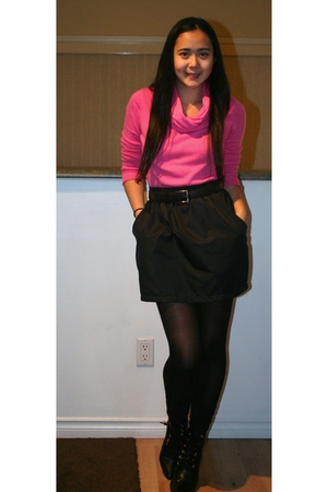 pink Esprit sweater - black American Apparel skirt - black H&M stockings - black