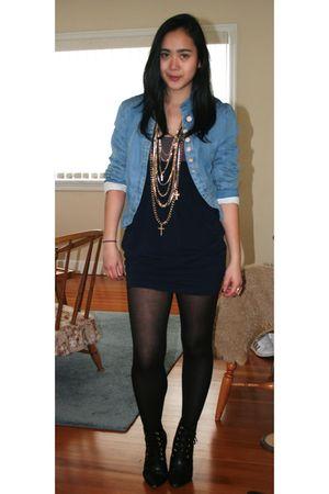 blue Zara jacket - blue Urban Behaviour dress - black H&M boots - gold Aldo acce