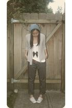 blue H&M hat - gray Reitmans cardigan - white American Apparel top - green Vero