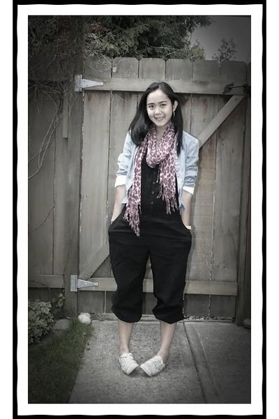 black H&M jumper - blue Zara jacket - pink Urban Outfitters scarf - white Diesel