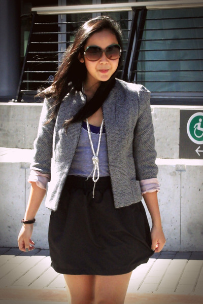 gray Zara blazer - black American Apparel skirt - purple Aldo shoes - gray Ameri