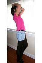 pink Nordstrom t-shirt - blue shorts - black H&M boots - gold skyler accessories