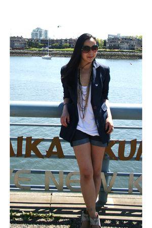 blue INC blazer - white American Apparel top - blue Nordstrom shorts - beige H&M