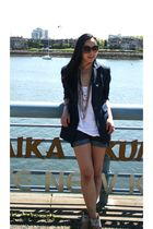 blue INC blazer - white American Apparel top - blue Nordstrom shorts - beige H&M