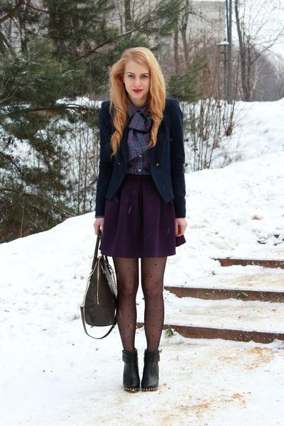 navy Zara blazer - black River Island boots - violet Van Graaf shirt