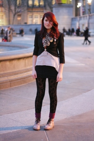 pink Doctor Martens shoes - black H&M dress - black Topshop leggings