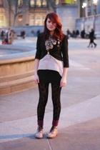 pink Doctor Martens shoes - black H&M dress - black Topshop leggings