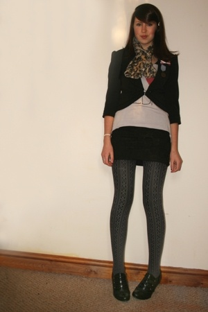 select blazer - old scarf - Topshop top - H&M skirt - Primark shoes