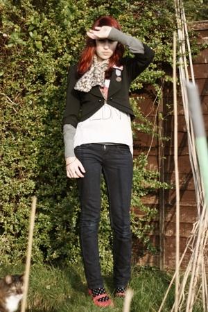 select blazer - Topshop top - Topshop jeans - H&M socks