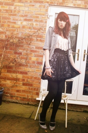 Miss Selfridge jacket - Topshop shirt - brick lane lace skirt - Miss Selfridge s