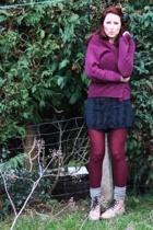flea market sweater - River Island shirt - charity shop shirt worn as skirt - Dr
