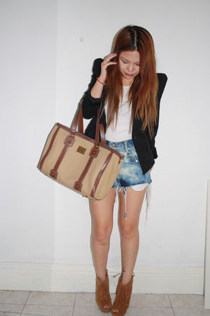 black blazer - blue vintage DIY shorts - white bonds shirt - brown Wittner shoes