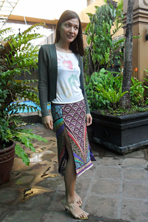 Customized skirt - DIY top - dark green whistles cardigan